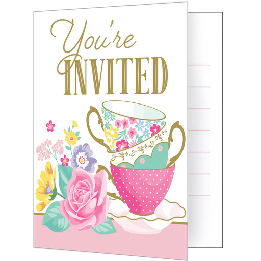 "Floral Tea Party 4""W x 5""L Folded Invitations"