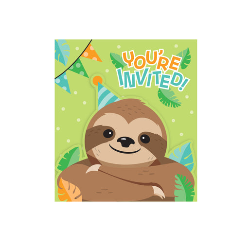 "4 1/2""W x 4 1/2""H Sloth Party Invitation"