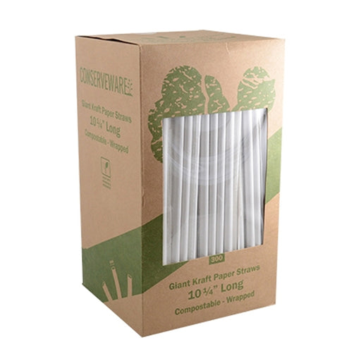 "Conserveware 10 1/4"" Length Wrapped Kraft Paper Straws"