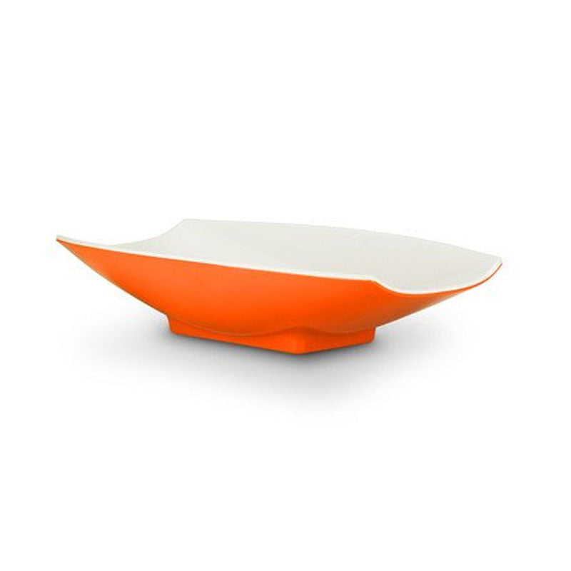 16 x 9 x 3 1/2 Melamine Curves Bowl Orange Outside / White Inside, Case Of 6