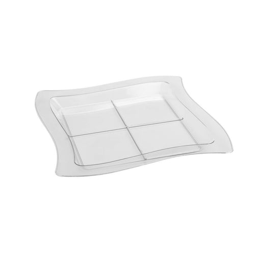 Clear 7 1/4 x 7 1/4 Tiny Tangents Sectional Trays