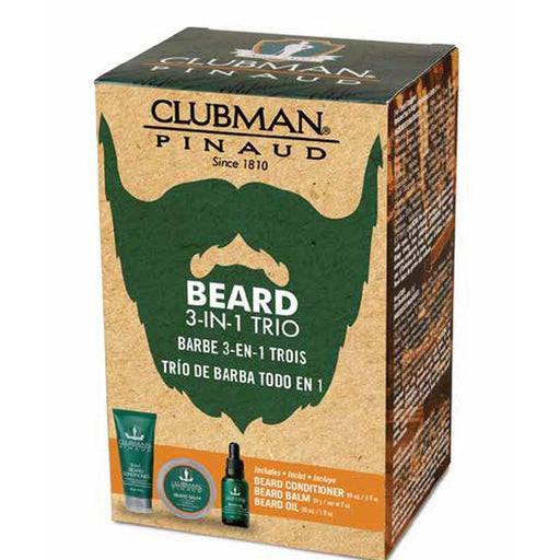 Clubman Beard 3 In 1 Trio Beard Balm, Oil and 2 in 1 Conditioner