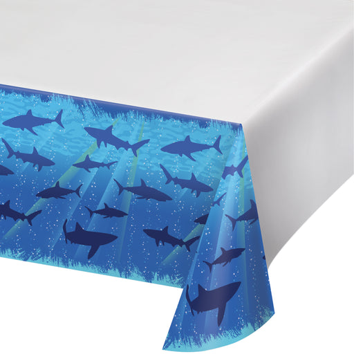 Shark Splash 54 x 108 Plastic Tablecover Border Print