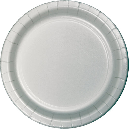 7 inch Roung Solid Paper Luncheon Plate Shimmering Silver