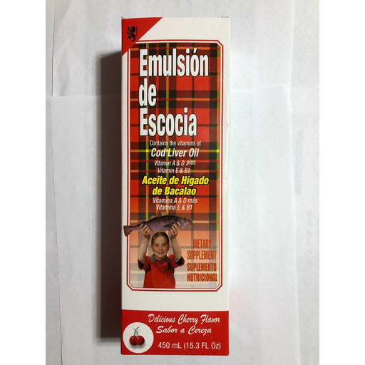 Emulsion Escosia 15.3 Oz Cherry Cod Liver Fish Oil Aceite De Higado Bacalao