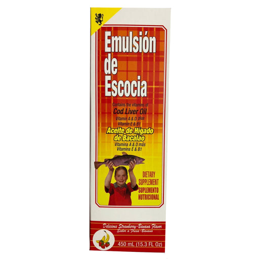 Emulsion Escocia 15.3 Oz Strawberry Banana Cod Liver Oil Aceite De Higado Bacalao
