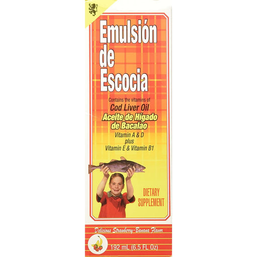 Emulsion De Escocia, Vitamins of Cod Liver Oil, Strawberryand Banana, 6.5 Oz.