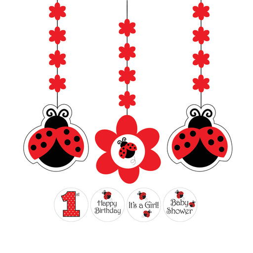 Ladybug Fancy Hanging Cutouts with Stickers