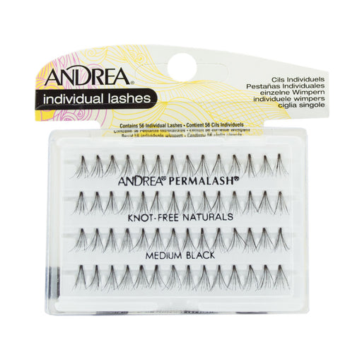 Andrea Permalash Knot Free Naturals,Medium Black, 56 Lashes