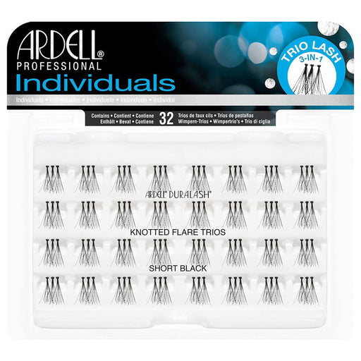Ardell Professional  Induviduals Duralash Knotted Flare Trios , 32 Lahses, Short Black
