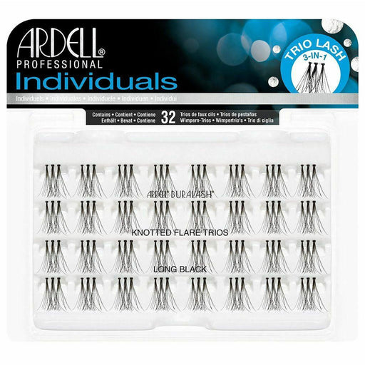 Ardell Professional  Induviduals Duralash Knotted Flare Trios , 32 Lahses, Long Black