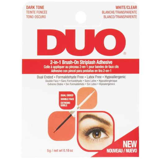 Ardell Duo Adhesive 2In1 Brush On Striplash Adhesive, Dark Tone-White/Clear, 0.18 Oz.