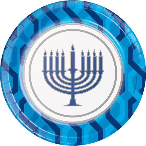 "Menorah 7"" Dia. Paper Luncheon Plate, Case of 96"