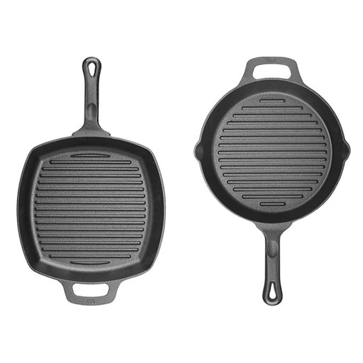 "Cast Iron, Induction Grill Pan, Round, 10 1/4"" Dia x 1 3/4"" H, Pre Seasoned"