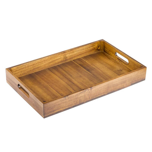 1:1 Gastro Serving & Display Crate with Solid Bottom, Acacia Wood, 20.875 x 12.75 x 2.75""