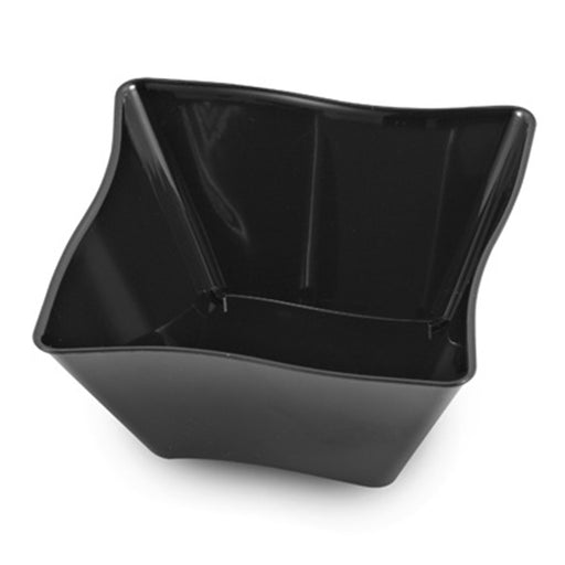 Black 5 Oz Square Waves Plastic Bowls