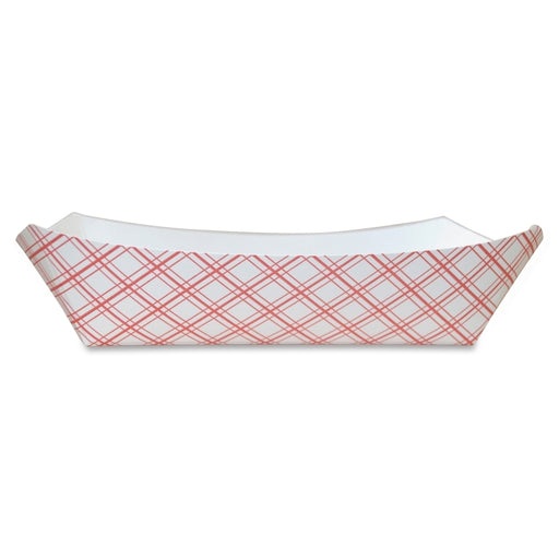Specialty Quality Packaging White/Red Plaid Paper Food Tray