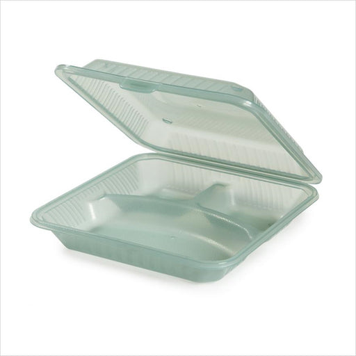 Eco Takeouts 9 inch x 9 inch 3 Compartment Food Container 2.75 inch Deep Jade Polycarbonate