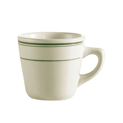 "Greenbrier, Tall Cup, 7 Oz. 3-1/2""Dia. X 3""H, Stoneware, American White, Green Band"