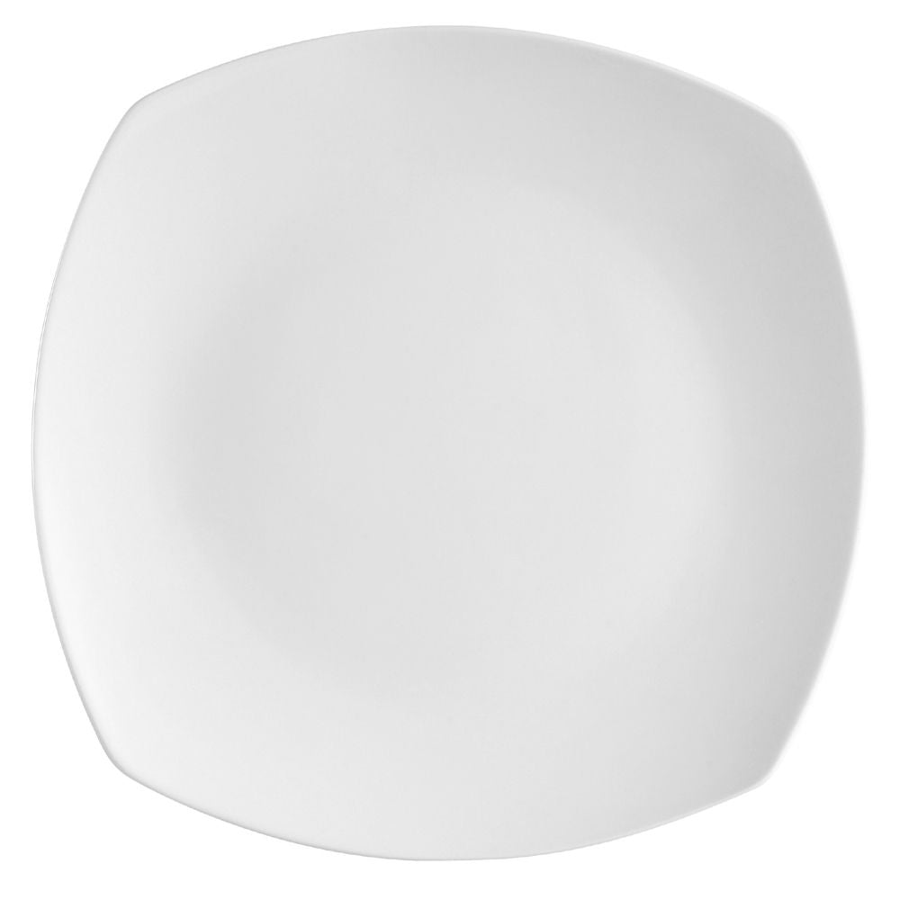 "Hampton, Round In Square Plate 10""Dia. X 1""H, Porcelain, Super White"