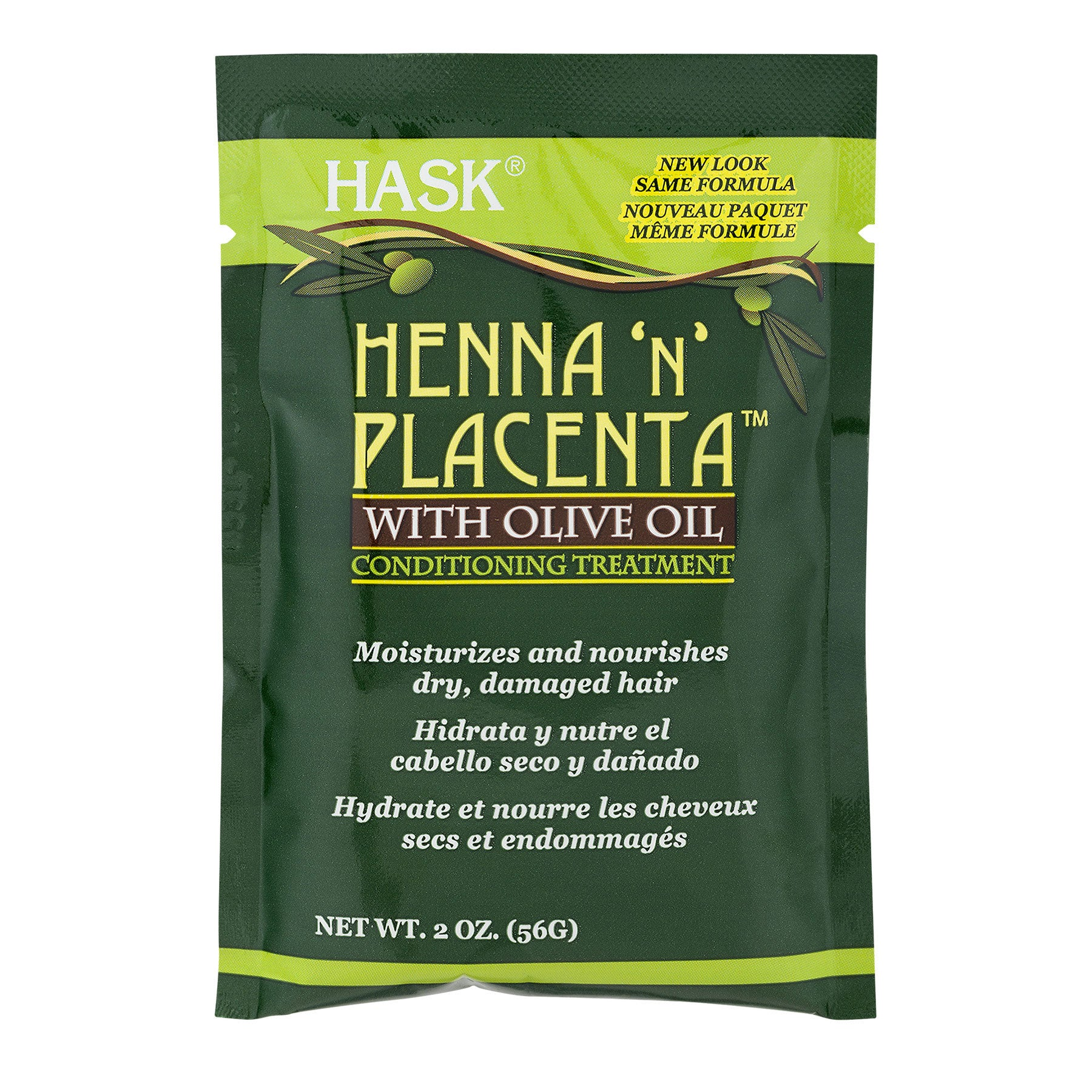 Hask Henna 'N' Placenta with Olive Oil Conditioning Treatment, 2 Ounce