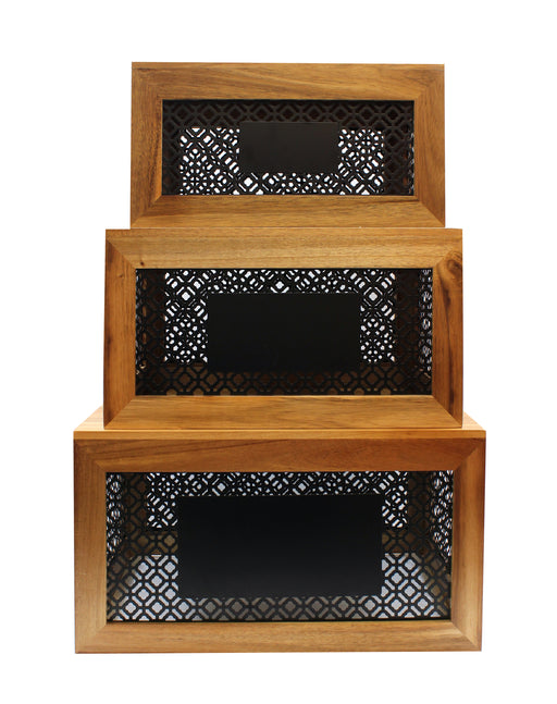 Farmhouse Collection Wood Crates with Chalkboard Panel, Set of 3, Acacia Wood