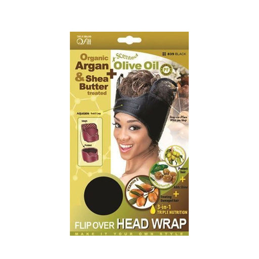 M&M Headgear Org Flip Over Head Wrap Black 00839