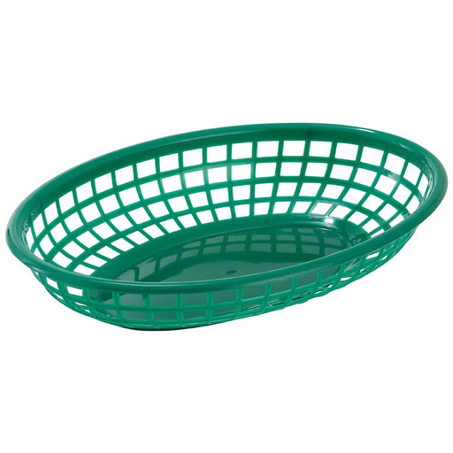 "Fast Food Baskets, Oval, 9 1/2"" x 5"" x 2"", Green"
