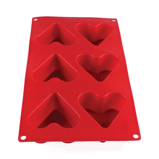 4.4 Oz Heart High Heat Silicone Baking Mold, 6 Cavities