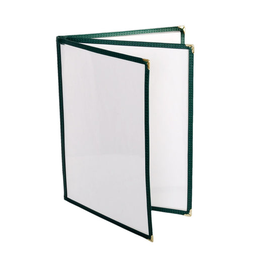 "3 Page Book Fold Menu Cover, 8 1/2"" X 11"", Green, total 12 Counts"