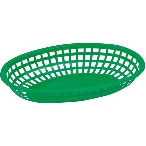"Fast Food Baskets, Oval, 10 1/4"" x 6 3/4"" x 2"", Green"