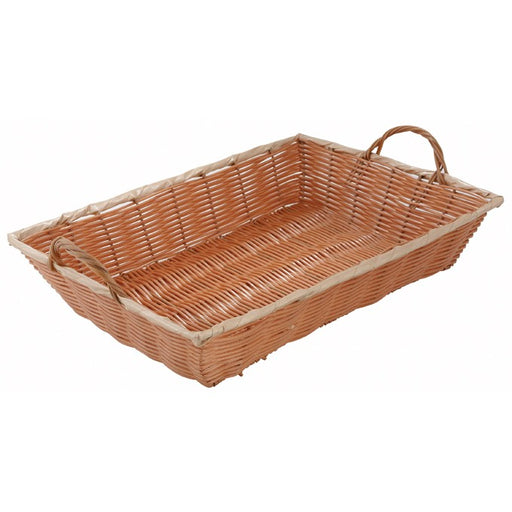 "Poly Woven Basket, Rectangular w/Handles, 16"" x 11"" x 3"", Natural"