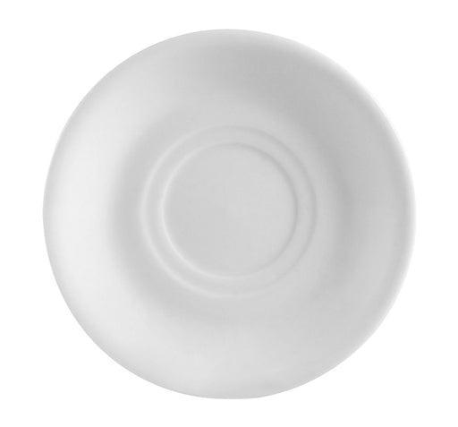 "Clinton Rolled Edge, Saucer For 14 Oz. Cup, 6-7/8""Dia. X 1""H, Porcelain, Super White"