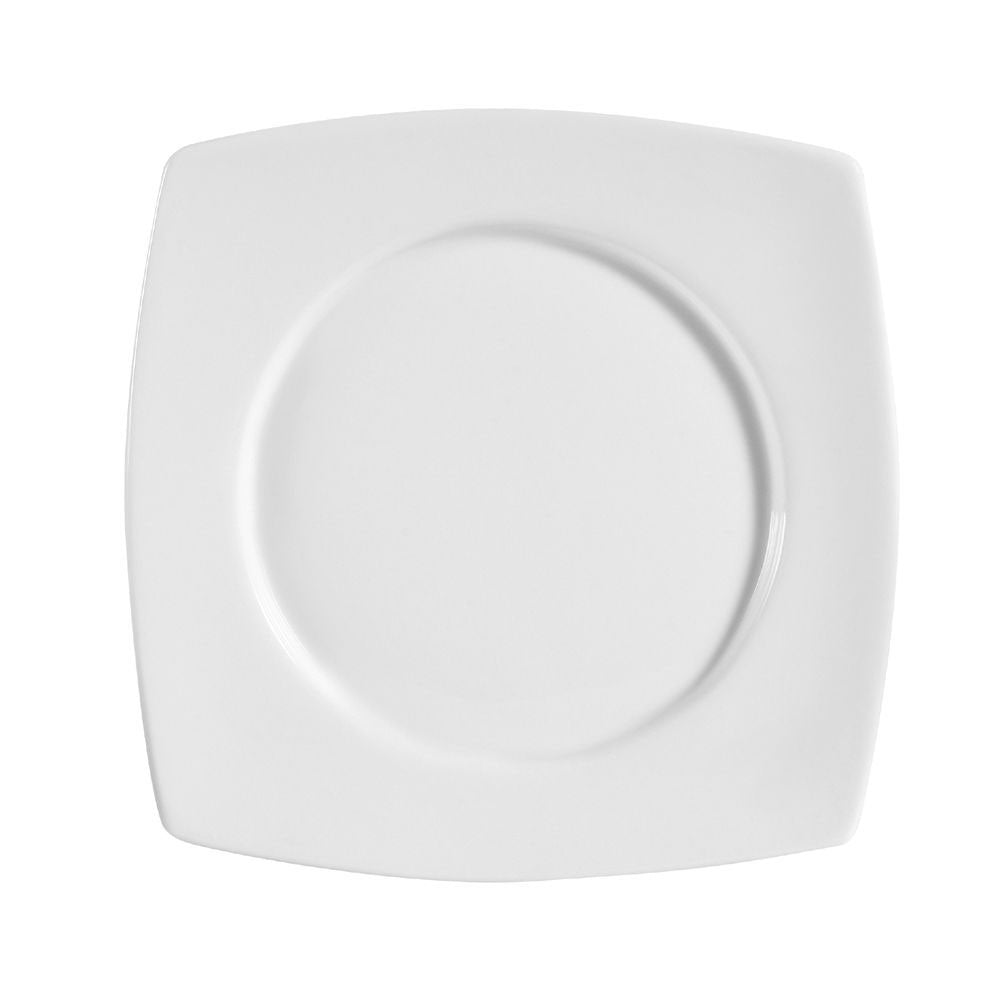 "Clinton, Round In Square Plate 8-7/8""Sq. X 1""H, Porcelain, Super White"