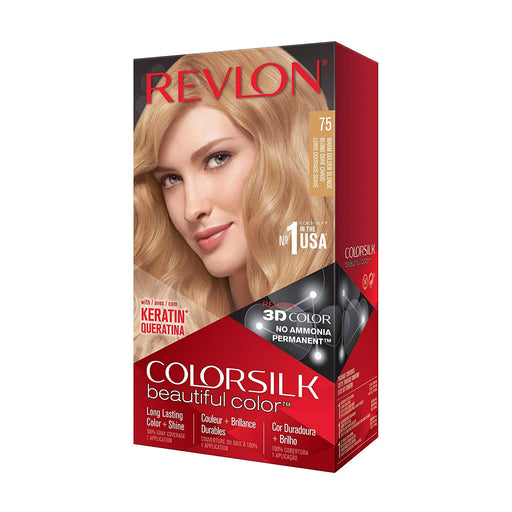 Revlon Colorsilk Beautiful Color Permanent Hair Color, 75 Warm Golden Blonde