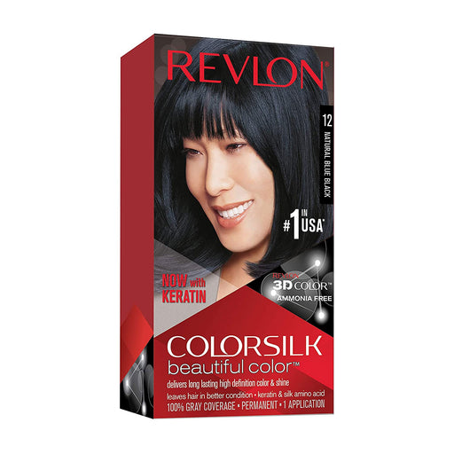 Revlon Colorsilk Beautiful Color Permanent Hair Color, 12 Natural Blue Black