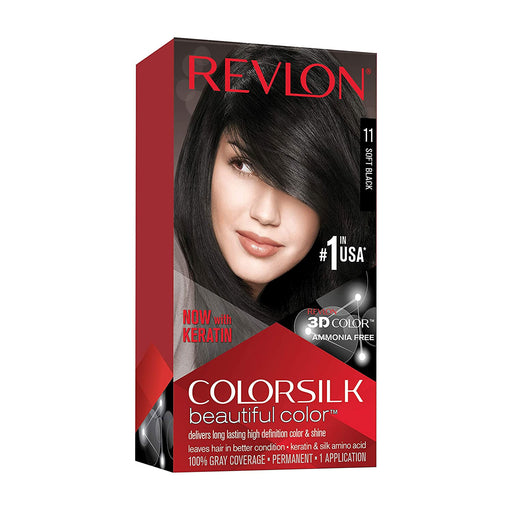 Revlon Colorsilk Beautiful Color Permanent Hair Color, 11 Soft Black