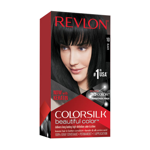Revlon Colorsilk MoistureRich Color Permanent Hair Color, 10 Jet Black