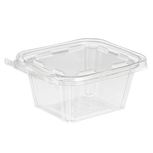 "4 3/8""L x 3 3/4""W x 2 1/4""H 16 Oz. Safe T Fresh Tamper Evident Plastic Hinged Container"