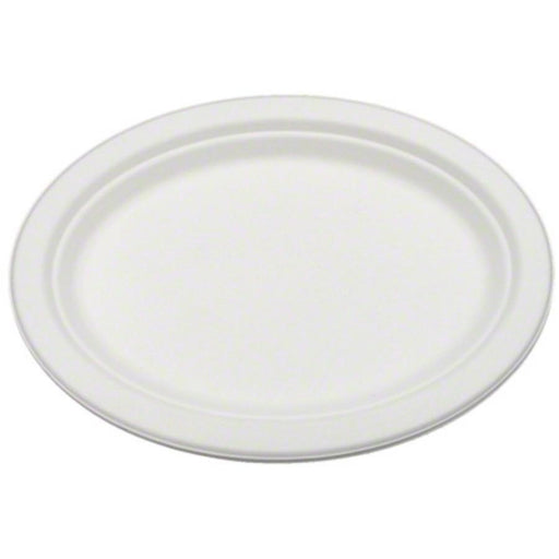 "Bridge-Gate 7X10"" Compostable Natural Fiber Oval Platter - White"