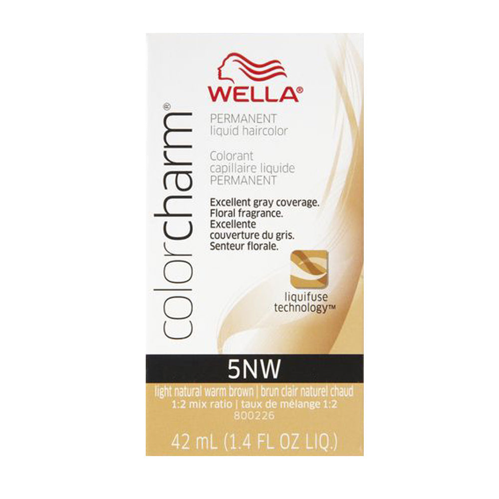 Wella Color Charm Permanent Liquid Haircolor, 5NW Light Natural Warm Brown, 1.4 Oz.