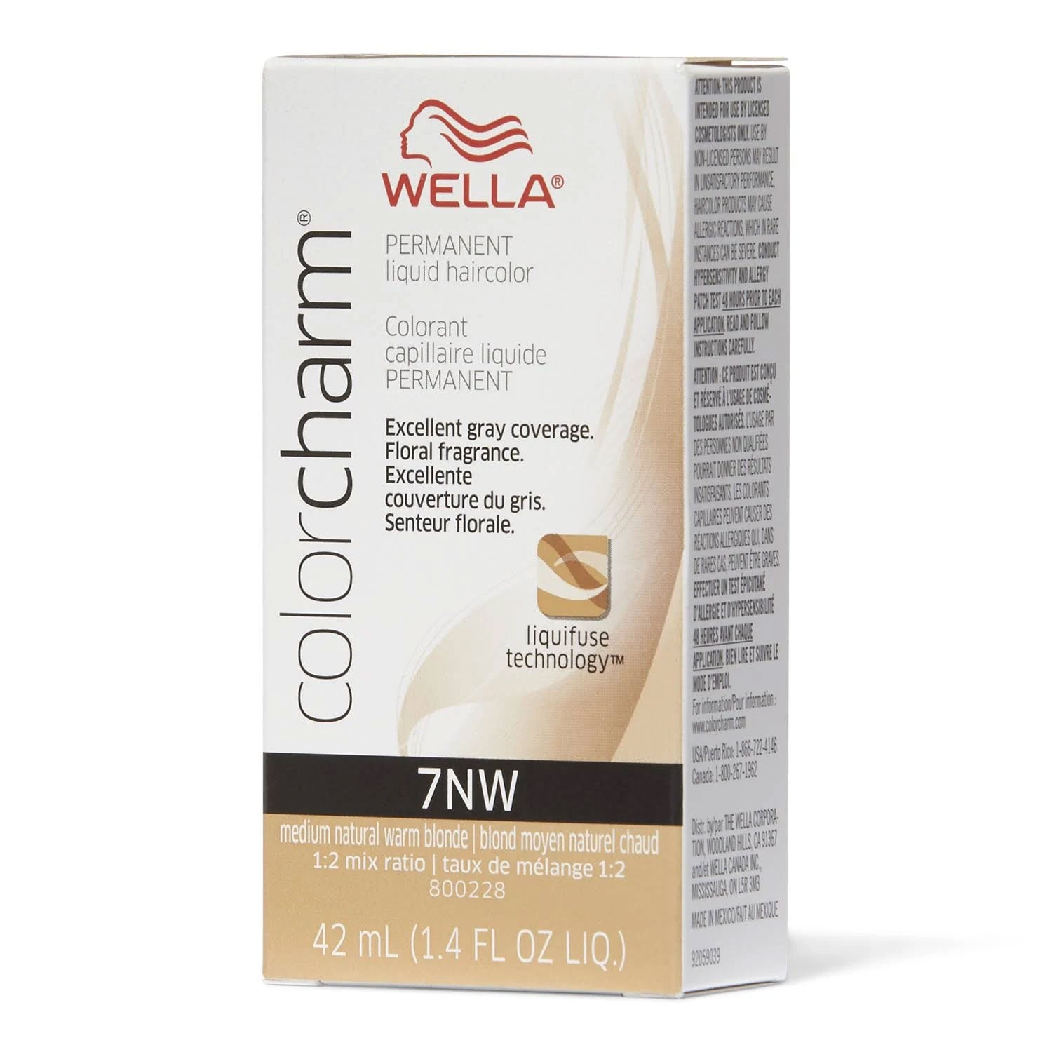 Wella Color Charm Permanent Liquid Haircolor, 7NW Medium Natural Warm Blonde, 1.4 Oz.