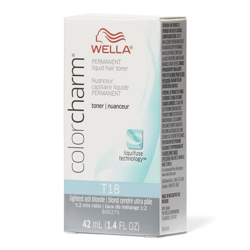 Wella Color Charm Permanent Liquid Hair Toner, T18 Lightest Ash Blonde, 1.4 Oz.