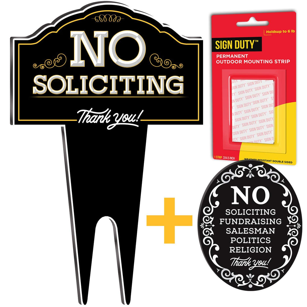 SignDuty No Soliciting Metal Yard Sign + No Soliciting Metal Door Sign w/ Double sided mounting strip for your House & Business- Made with Ultra Duty DiBond Aluminum