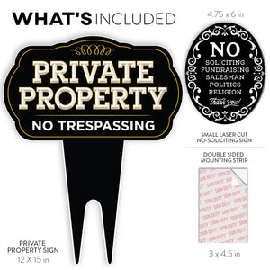 SignDuty Private Property No Trespassing DiBond Metal Yard Sign + No Soliciting Door Sign w/Double Sided mounting Strip for Home & Business
