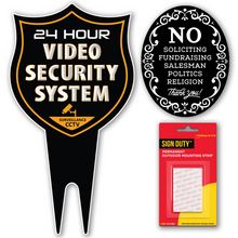 Load image into Gallery viewer, 24 Hour Video Security System DiBond Metal Yard Sign + No Soliciting Door Sign w/Double Sided mounting Strip- Surveillance Camera Warning Sign for Home & Business