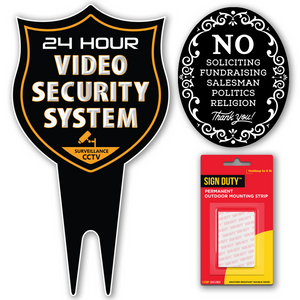 24 Hour Video Security System DiBond Metal Yard Sign + No Soliciting Door Sign w/Double Sided mounting Strip- Surveillance Camera Warning Sign for Home & Business