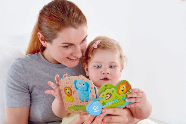 Hape Babys Wild Animal Book perfect for little hands, baby and new borns The Toy Wagon