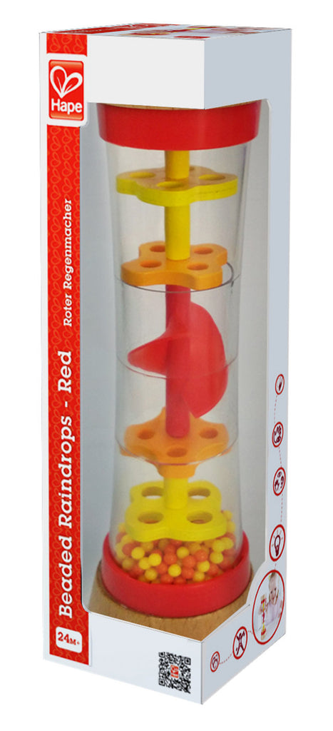 Hape Beaded Raindrops - Red, a first musical instruments for babies, perfect for making music The Toy Wagon