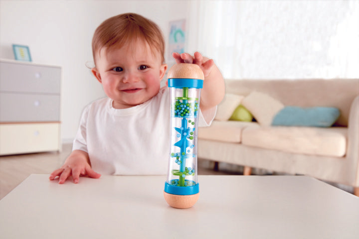 Hape Beaded Raindrops - Blue, a first musical instruments for babies, perfect for making music The Toy Wagon